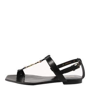 Saint Laurent Black Cassandra Flat Sandals Size 36.5