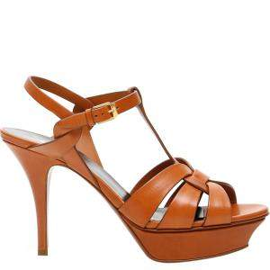 Saint Laurent Paris Brown Leather Tribute Sandals Size IT 37