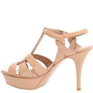 Saint Laurent Paris Pink Patent Leather Tribute Sandals Size IT 39