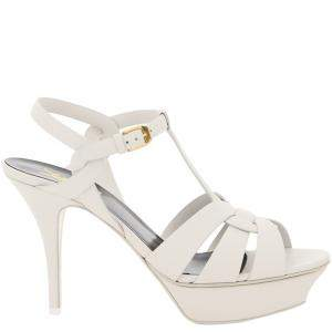 Saint Laurent Paris White Leather Tribute Sandals Size IT 40