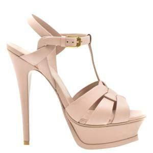 Saint Laurent Paris Pink Leather Tribute Platform Sandals Size EU 39