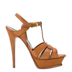 Saint Laurent Paris Brown Leather Tribute Platform Sandals Size EU 36.5