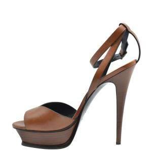 Saint Laurent Paris Brown Leather Platform Sandals Size EU 41