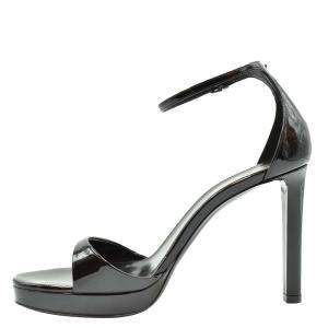 Saint Laurent Paris Black Patent leather Ankle Strap Sandals Size EU 37.5