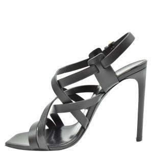 Saint Laurent Paris Black Leather Sandals Size EU 40