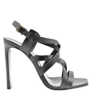 Saint Laurent Paris Black Leather Sandals Size EU 36.5