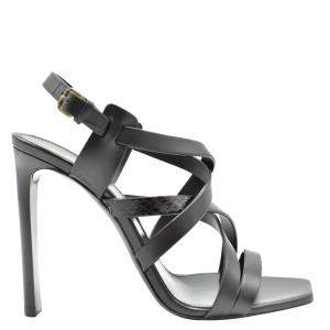 Saint Laurent Paris Black Leather Sandals Size EU 36
