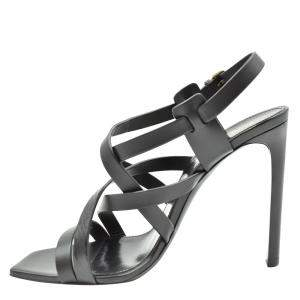 Saint Laurent Paris Black Leather Sandals Size EU 36