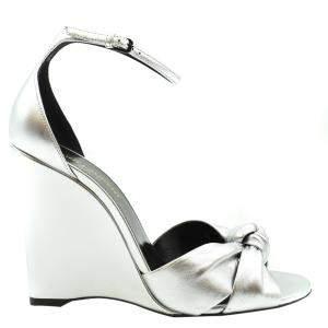 Saint Laurent Paris Metallic Silver Lila Wedge Sandals Size EU 37.5