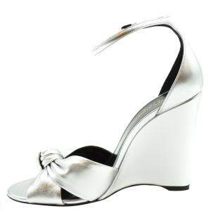 Saint Laurent Paris Metallic Silver Lila Wedge Sandals Size EU 38