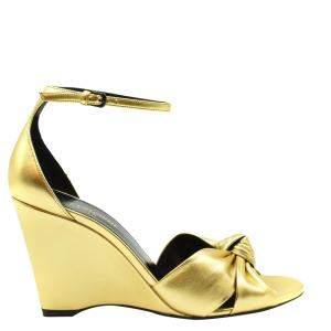 Saint Laurent Paris Metallic Gold Lila Wedge Sandals Size EU 37