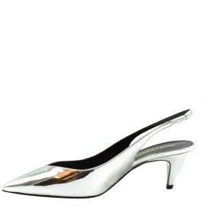 Saint Laurent Paris Silver Kiki Slingback Sandals Size EU 36