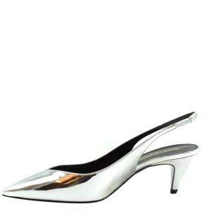 Saint Laurent Paris Silver Kiki Slingback Sandals Size EU 37