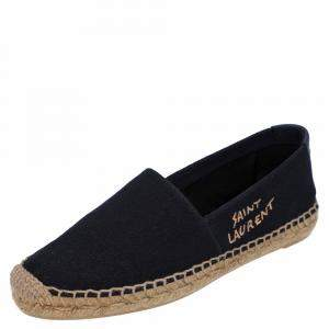 Saint Laurent Paris Black Canvas Espadrilles Size EU 37