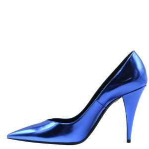 حذاء كعب عالي سان لوران باريس جلد أزرق ميتاليك مقدمة مدببة مقاس أوروبي 40