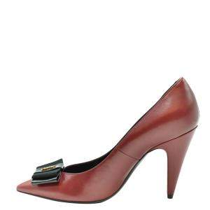 Saint Laurent Paris Red Leather Anais Bow Pointed Toe Pumps Size EU 37