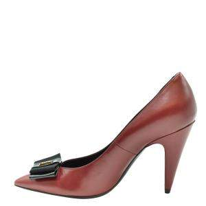 Saint Laurent Paris Red Leather Anais Bow Pointed Toe Pumps Size EU 35