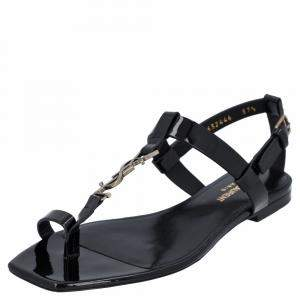 Saint Laurent Paris Black Patent Leather Monogram Cassandra Flat Sandals Size EU 37