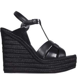 Saint Laurent Paris Black Tribute Wedge Espadrilles Size IT 37
