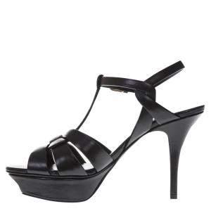 Saint Laurent Paris Black Sandals Size 36