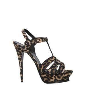 Saint Laurent Paris Leopard Print Tribute Sandals Size EU 39