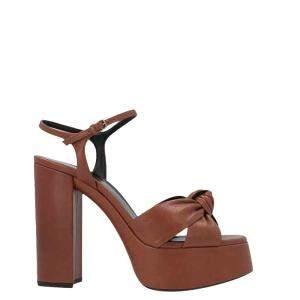 Saint Laurent Paris Brown Leather Bianca Sandals Size EU 38.5