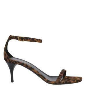 Saint Laurent Paris Leopard Print Lexi Ankle Strap Sandals Size EU 35.5