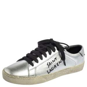 Saint Laurent Silver Leather Court Classic Low Top Sneakers Size 36.5