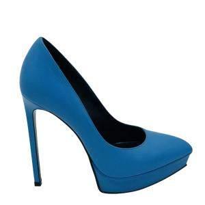 Saint Laurent Blue Leather Janis 105 Pumps Size 36.5 (UK 3.5)