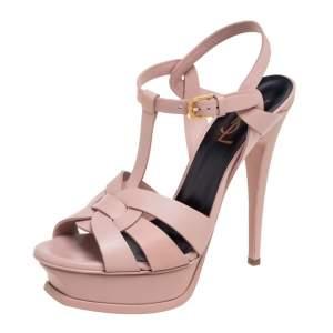Saint Laurent Pink Leather Tribute  Sandals Size 37.5
