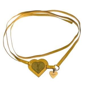 Saint Laurent Paris Yellow Leather and Suede Heart Waist Belt 90CM