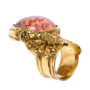 Saint Laurent Paris Arty Coral Glass Cabochon Gold Tone Ring Size 52