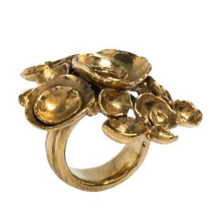 Yves Saint Laurent Paris Arty Flower Gold Tone Ring 54.5