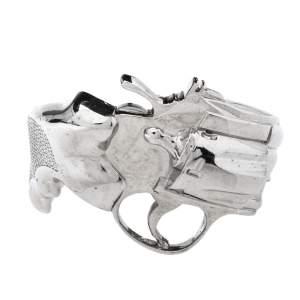 Saint Laurent Paris Silver Tone Revolver Cuff Bracelet