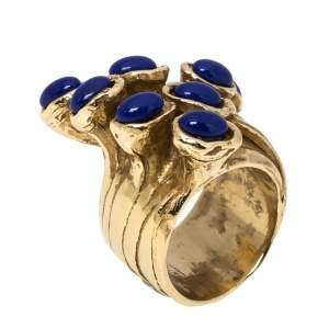Yves Saint Laurent Arty Dots Blue Cabochon Gold Tone Ring Size 54.5