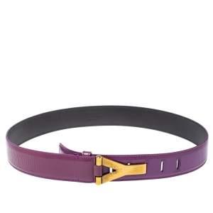 Saint Laurent Paris Purple Patent Leather Y Buckle Belt 90 CM