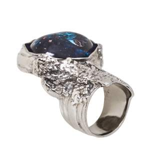 Yves Saint Laurent Arty Glass Cabochon Gunmetal Tone Cocktail Ring Size 52