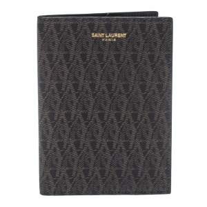 Saint Laurent Black/Brown Monogram Coated Canvas Passport Holder