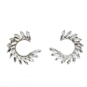Yves Saint Laurent Silver Tone Crystal Wreath Circle Clip-On Earrings
