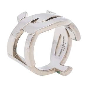 Saint Laurent Cassandre Palladium Plated Ring Size 56
