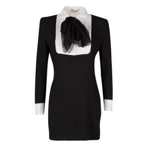 فستان سان لوران باريس ترتر أسود أكمام طويلة S