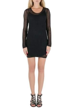 فستان سان لوران باريس تريكو مخرم شبكة أكمام طويلة أسود S