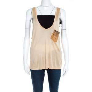 Saint Laurent Paris Beige Silk Knit Embellished Leather Pocket Detail Tank Top S