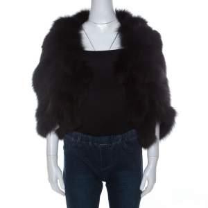 Saint Laurent Paris Edition Soir Black Fox Fur Bolero M