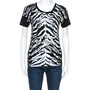 Saint Laurent Paris Monochrome Animal Stripes Print Jersey T-Shirt S