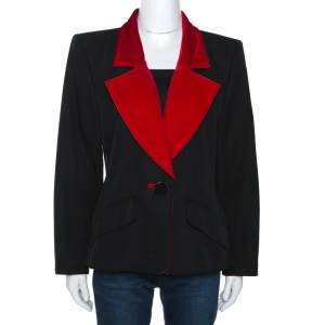 Yves Saint Laurent Rive Gauche Vintage Black Wool Velvet Lapel Blazer L