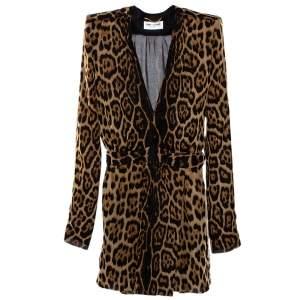 فستان سان لوران باريس ميني كتف مبطن حرير طباعة فهد بني M