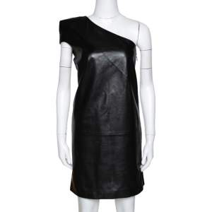 Saint Laurent Paris Black Leather One Shoulder Dress M
