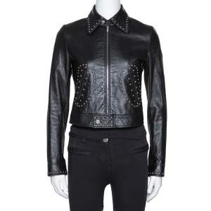 Saint Laurent Paris Black Studded Leather Biker Jacket S