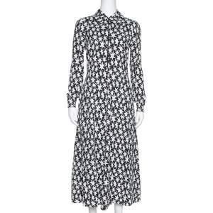 Saint Laurent Paris Monochrome Star Print Crepe Midi Dress M